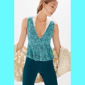 UO Cheetah Print Turquoise Tank Top